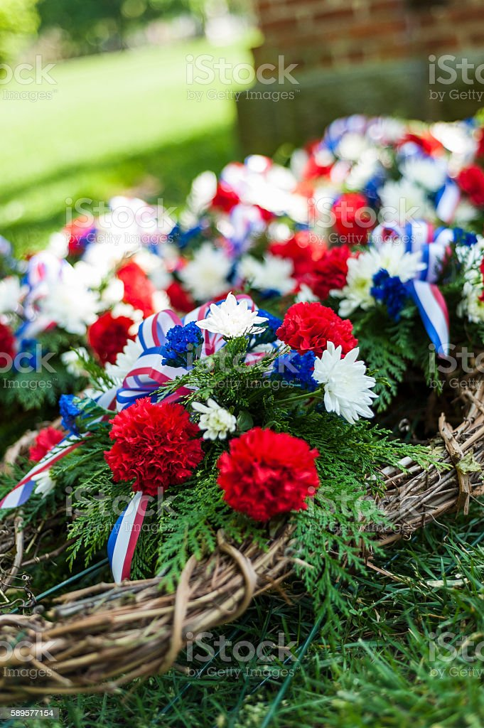 Memorial Wreaths stock photo