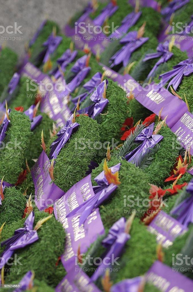memorial wreaths stock photo