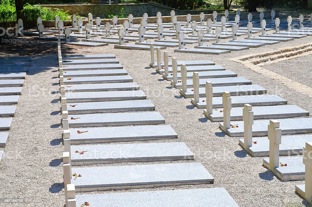 Memorial WWII cemetery gravestones with multiple cross shapes in France stock photo