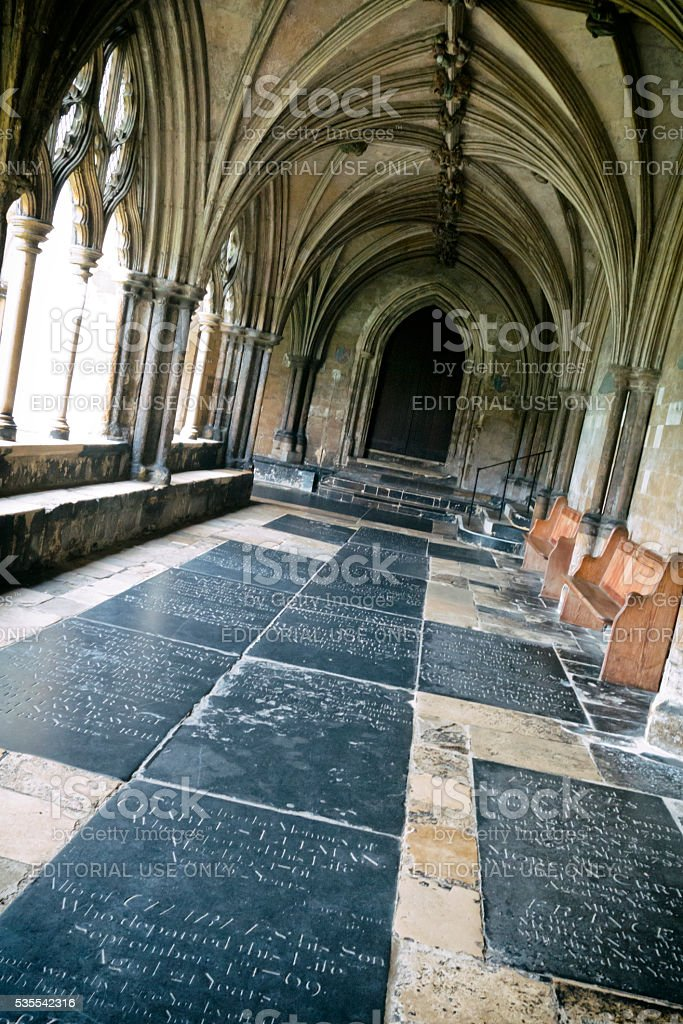 Memorials in Norwich Cathedral cloister stock photo