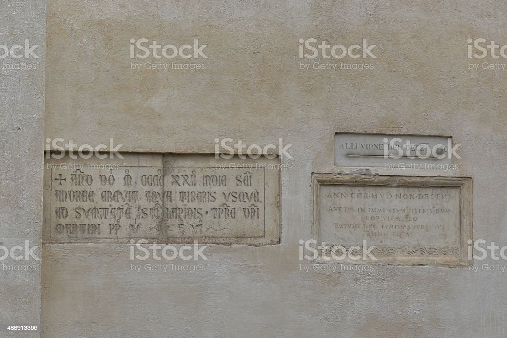 Memorials to the flooding of Tiber in Rome stock photo