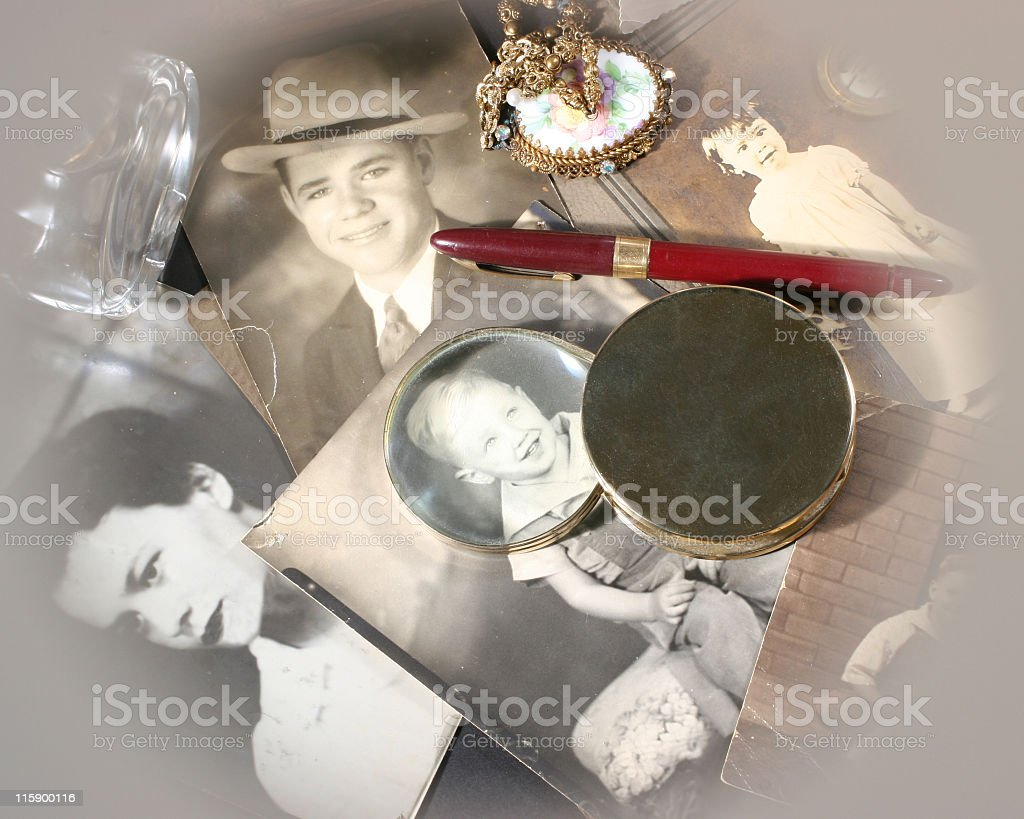Memories of Family photographs memorabilia geneology royalty-free stock photo