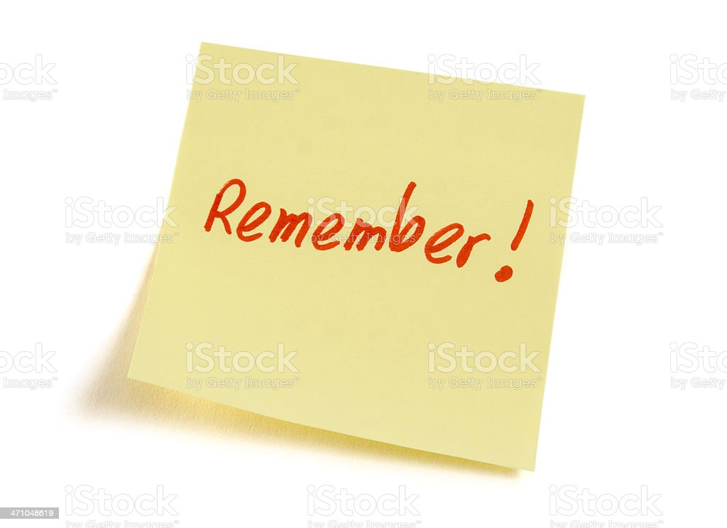 Memory Adhesive Sticky Note Reminder to Remember on White Background royalty-free stock photo