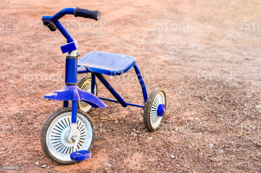 memory, blue tricycle stock photo