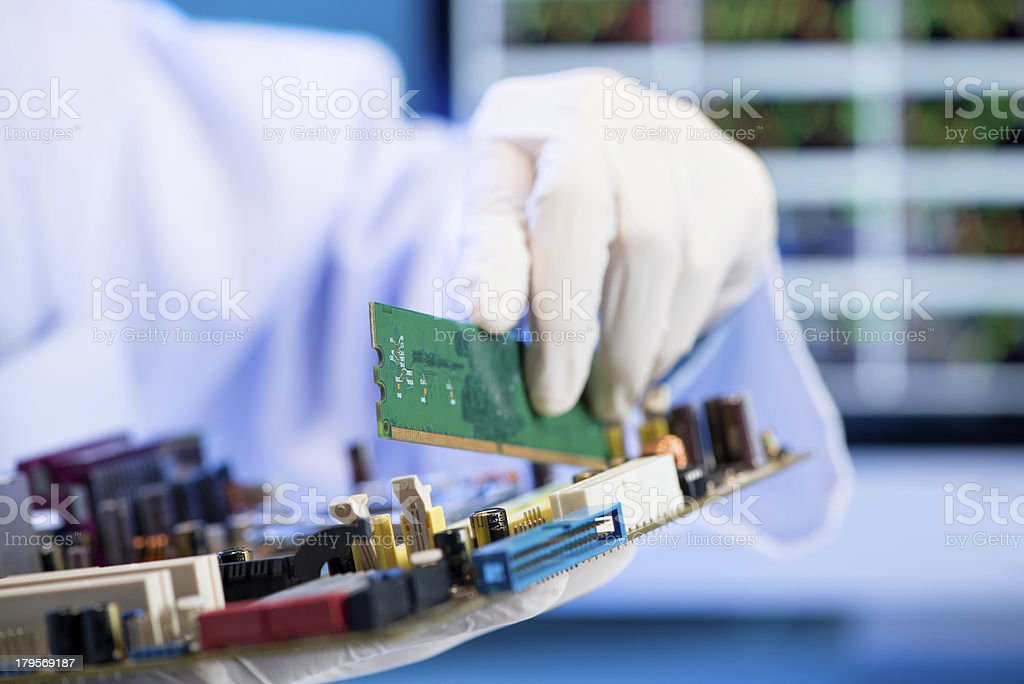 RAM memory card installation royalty-free stock photo