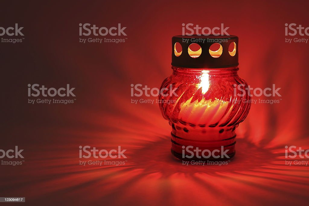 Memory  lantern with burning candle royalty-free stock photo