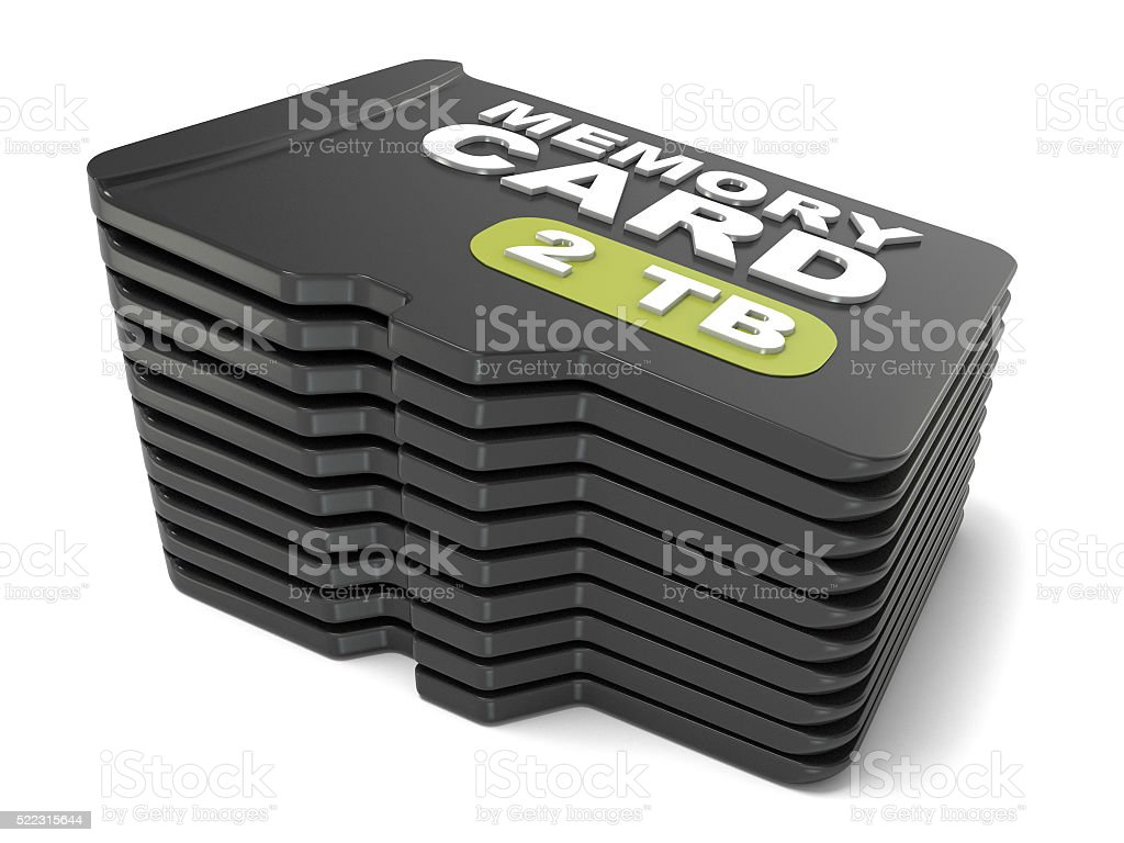 Memory micro SD card stack. 3D stock photo