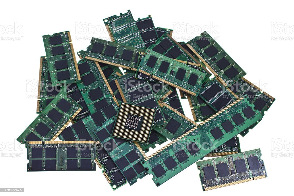Memory modules and a modern CPU royalty-free stock photo