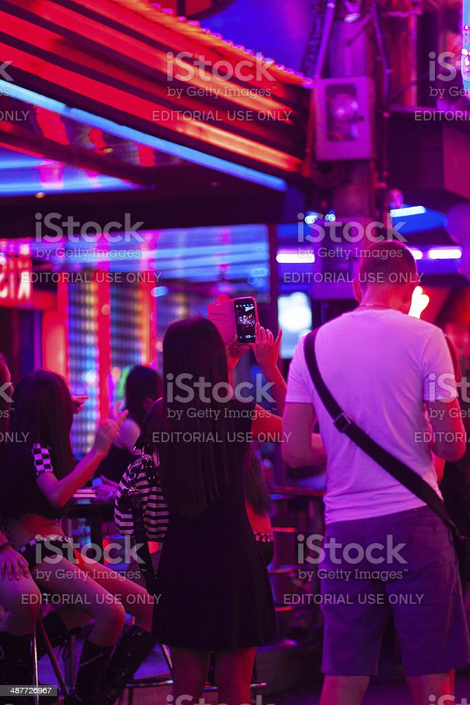 Memory photo with mobile in Soi Cowboy stock photo