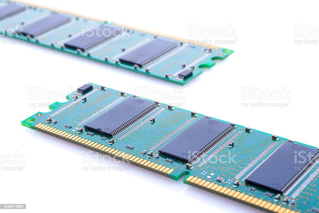 RAM Memory with white Background stock photo