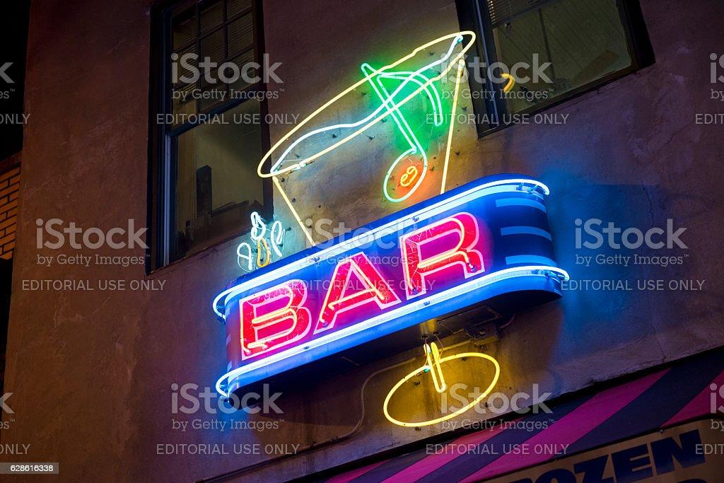Memphis Beale Street Nightlife Neon Bar Advertisement Tennessee stock photo