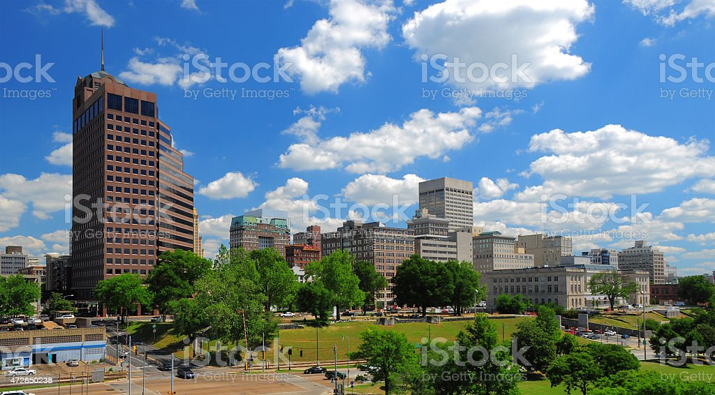 Memphis skyline and dramatic clouds stock photo
