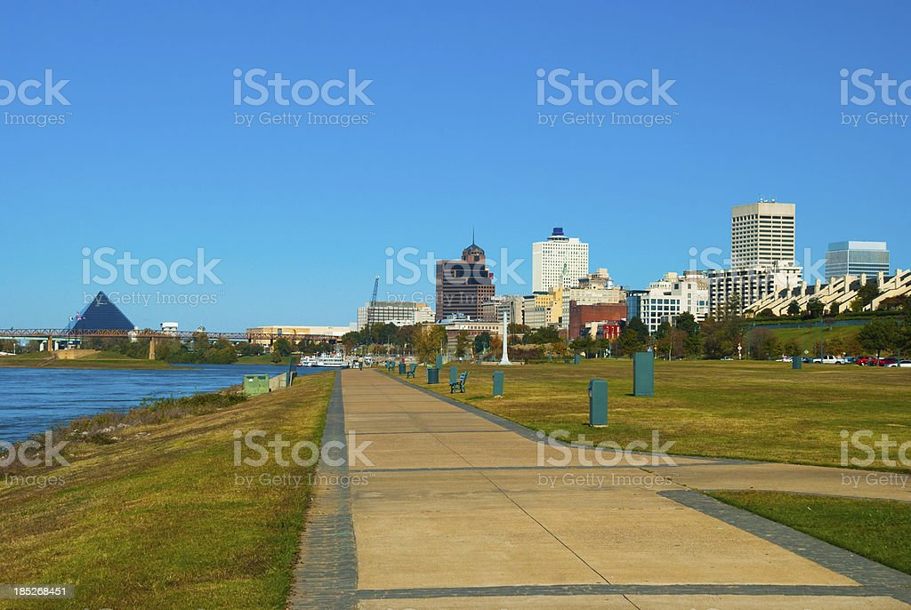 Memphis skyline, pyramid, park, and river view stock photo