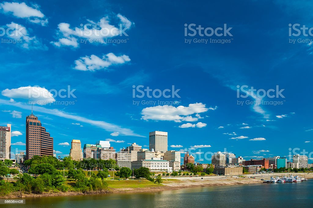 Memphis skyline with Deep Blue Sky and Clouds, Wide Angle stock photo