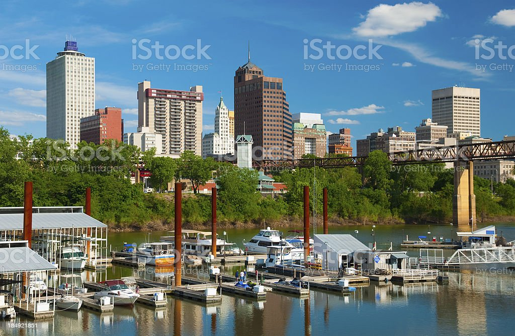 Memphis skyline with river and boats stock photo