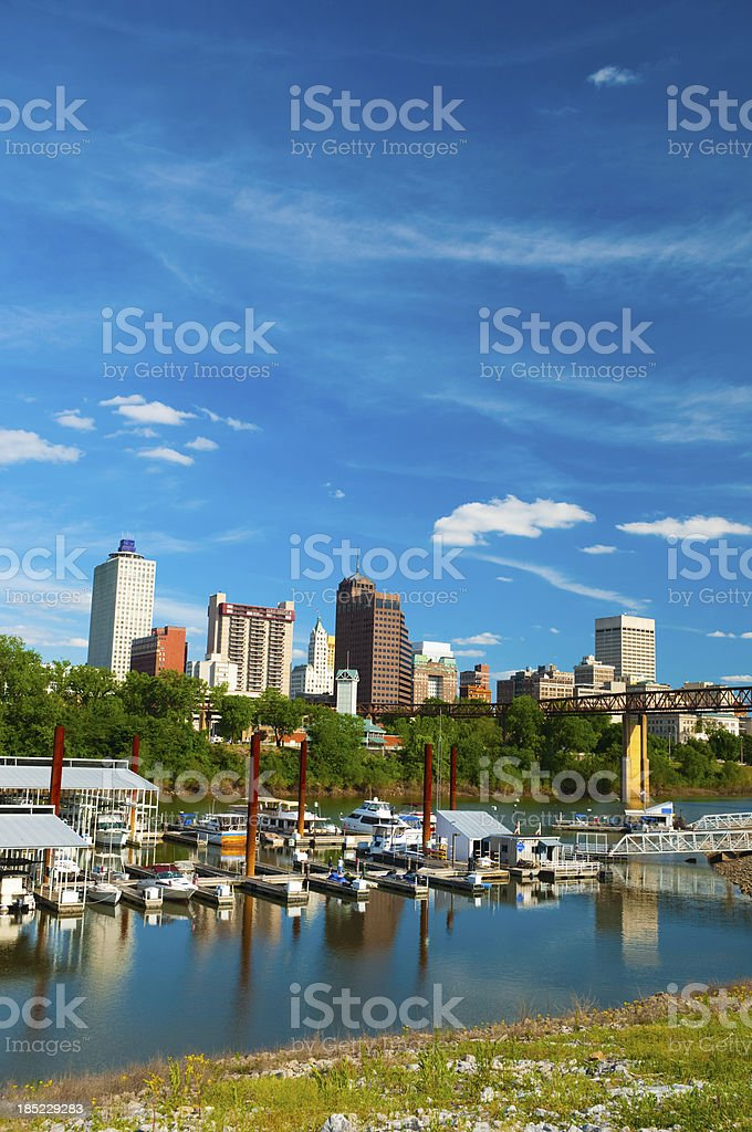 Memphis skyline with river and boats (vertical) stock photo