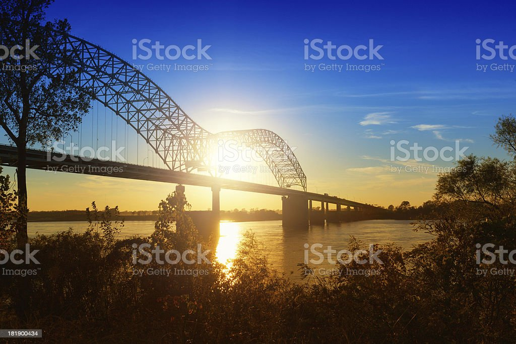 Memphis, Sunset over the Mississippi River stock photo