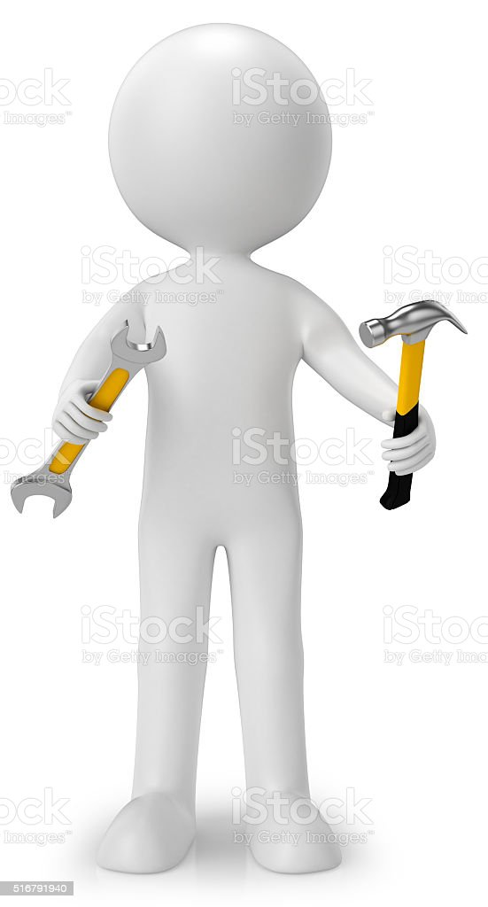 Men 3d concept of 'worker' stock photo