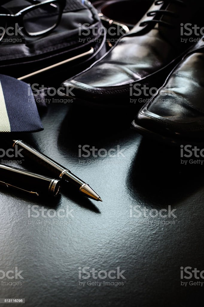 men accessories on black background stock photo