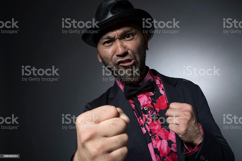 Men and threaten to hit from jealousy stock photo