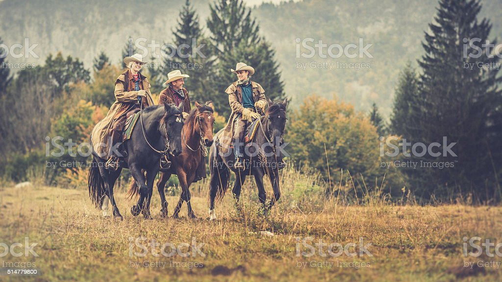 Men and woman enjoying horse riding stock photo