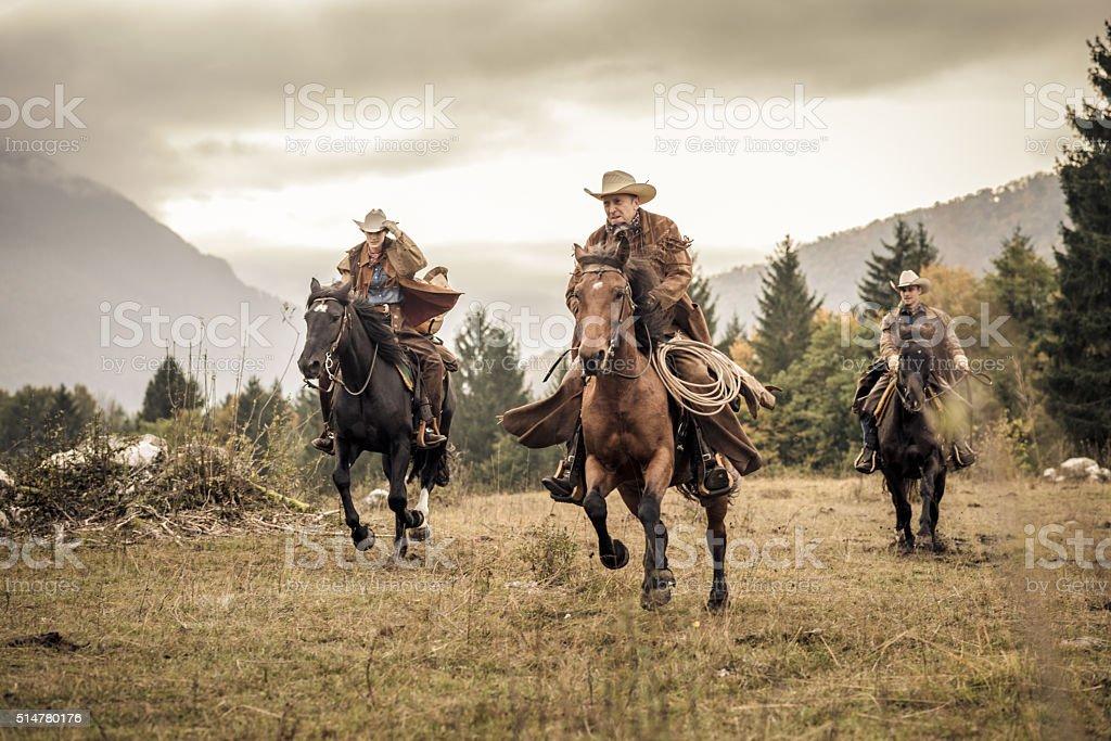 Men and woman enjoying horse riding stock photo
