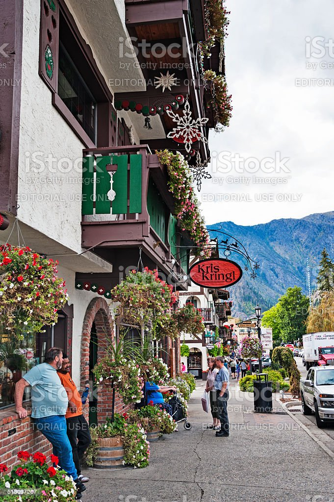 Men and Women Enjoying Leavenworth and the Unique Street Views stock photo