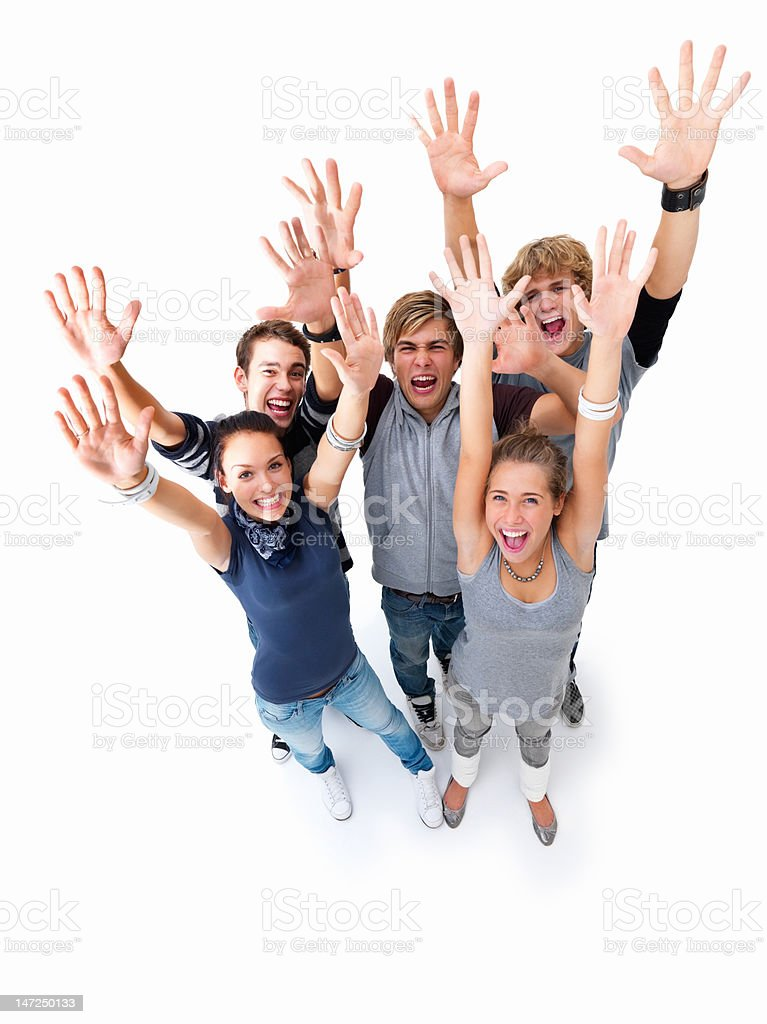 Men and women gesturing against white background royalty-free stock photo