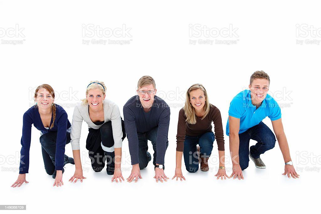 Men and women lined up ready for race royalty-free stock photo
