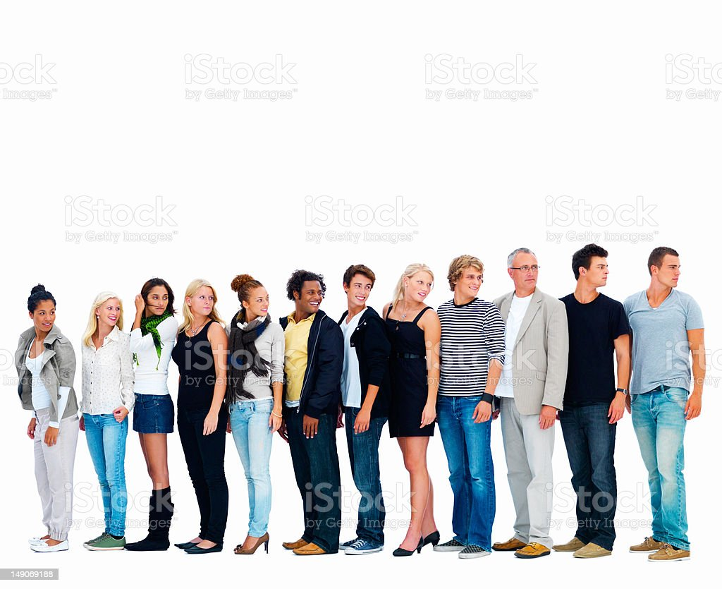 Men and women looking back against white background stock photo