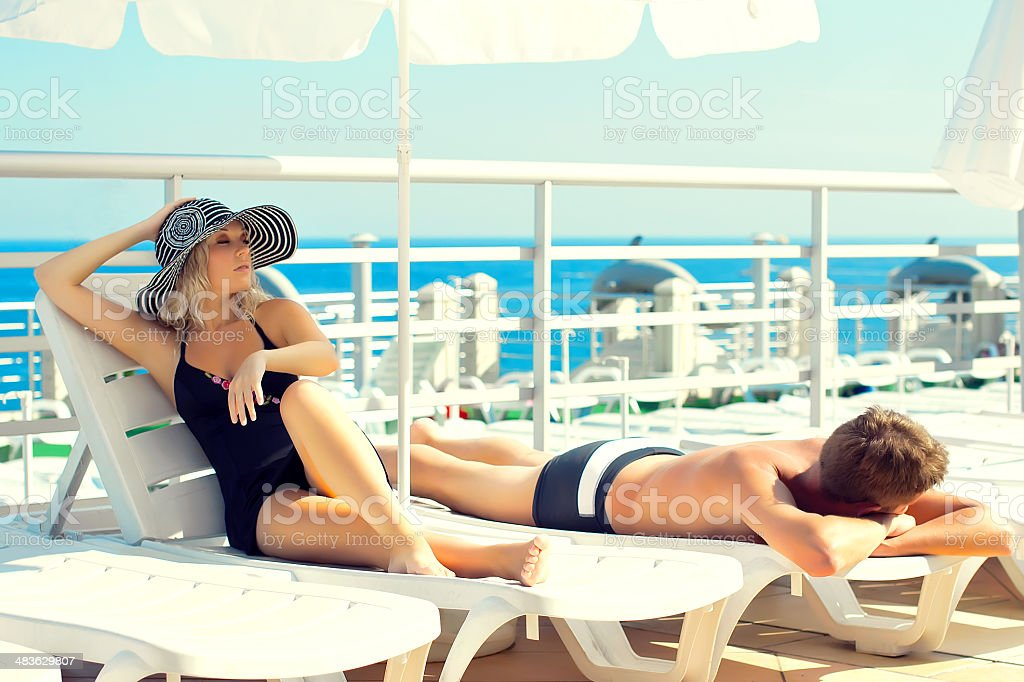 Men and women on a yacht royalty-free stock photo