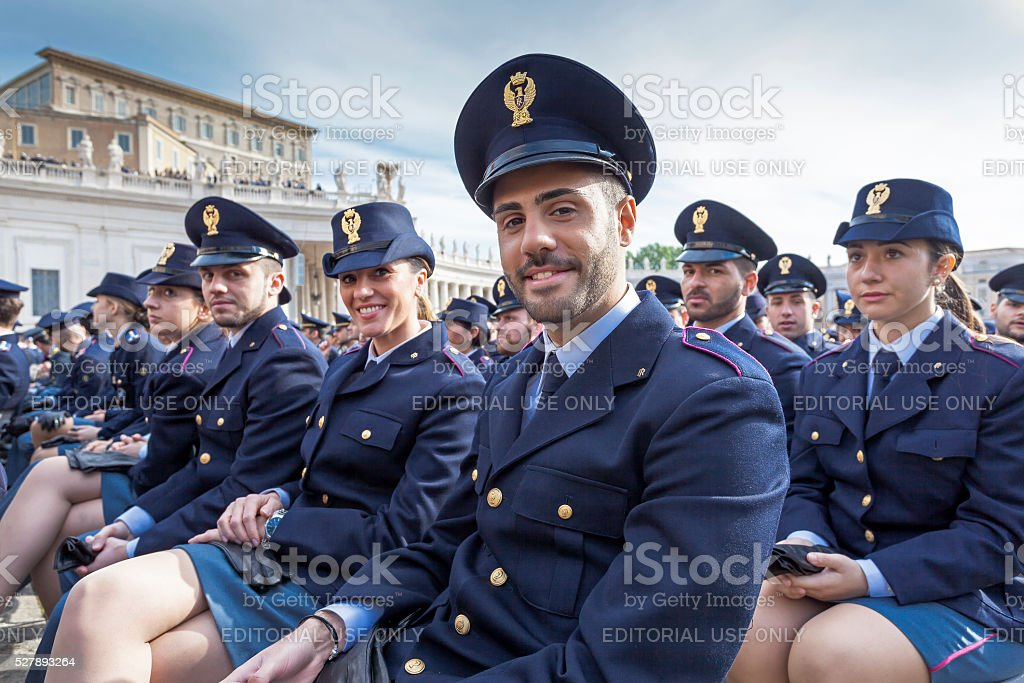 Men and women representatives State forces, Italian police. stock photo