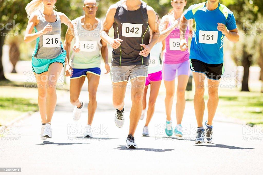 Men And Women Running Marathon At Park stock photo