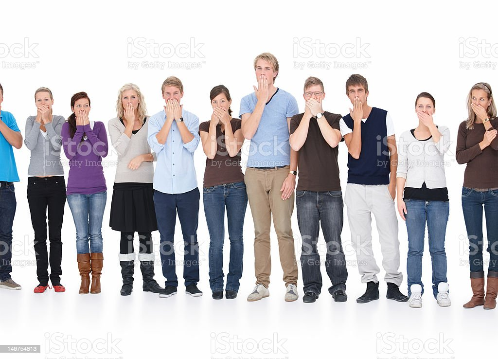 Men and women standing in a row royalty-free stock photo