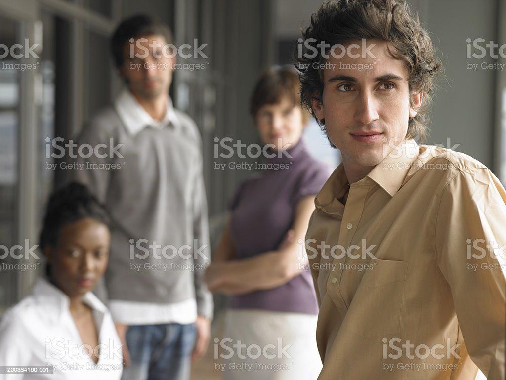 Men and women, young man in focus, close up royalty-free stock photo
