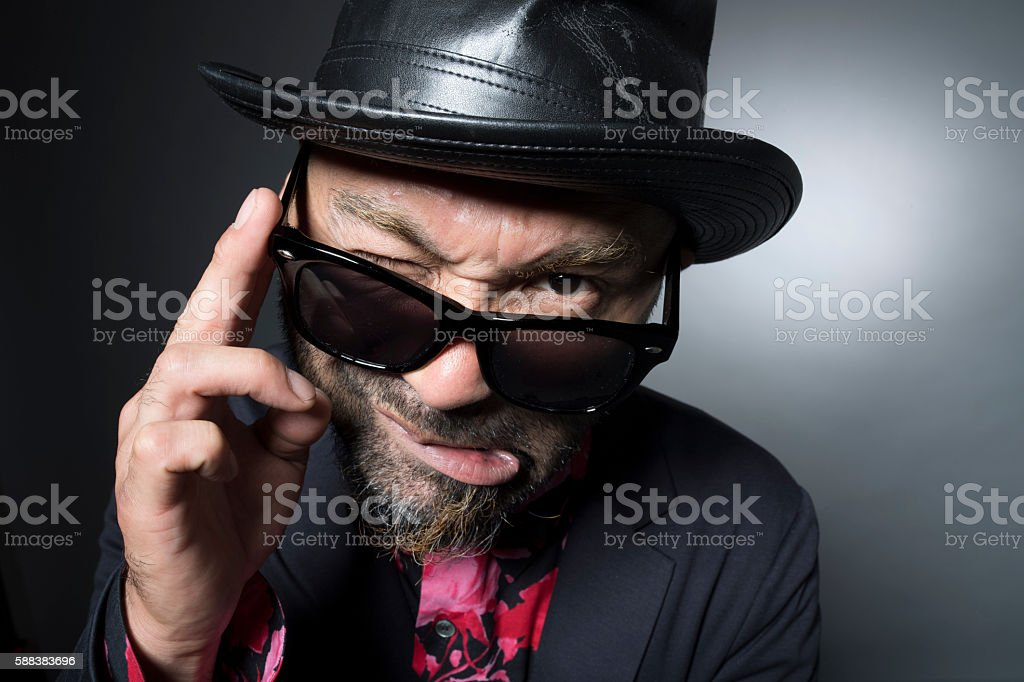 Men are frustration wants with sunglasses stock photo
