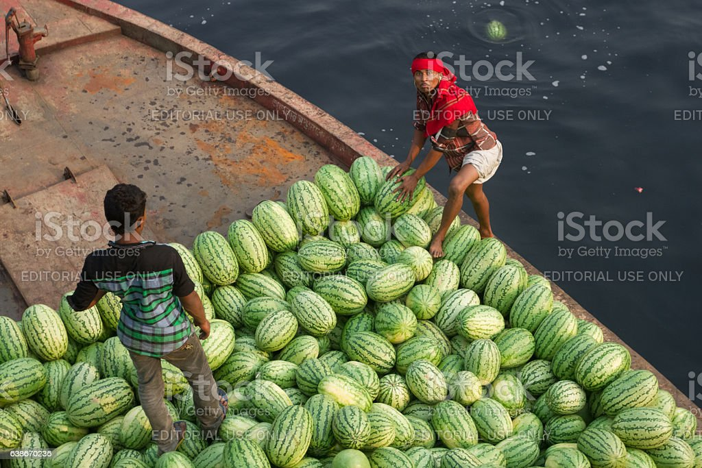 Men are loading watermelons on boat from ferry in Bangladesh stock photo