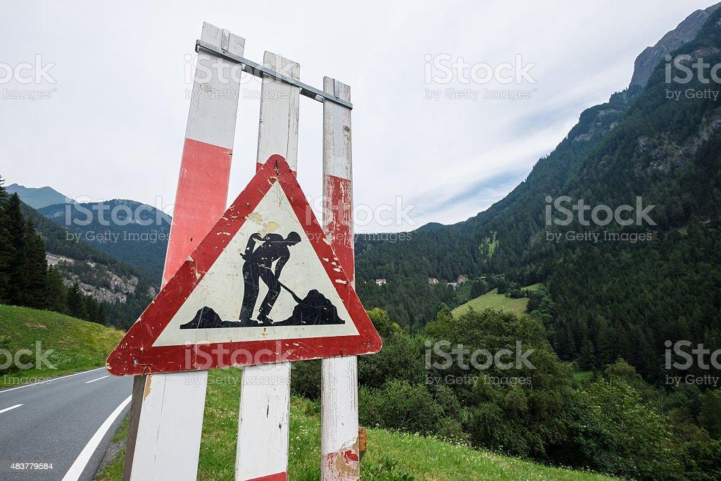 Men at Work - Road Sign stock photo