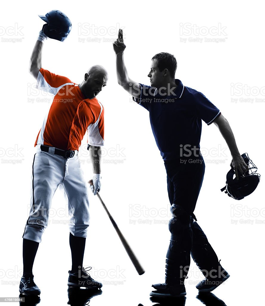 Men baseball players silhouette isolated stock photo