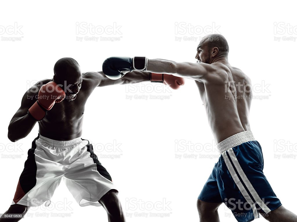 men boxers boxing isolated silhouette stock photo