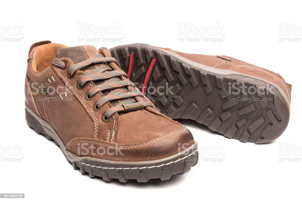Men Brown Shoes Hiking Boot stock photo