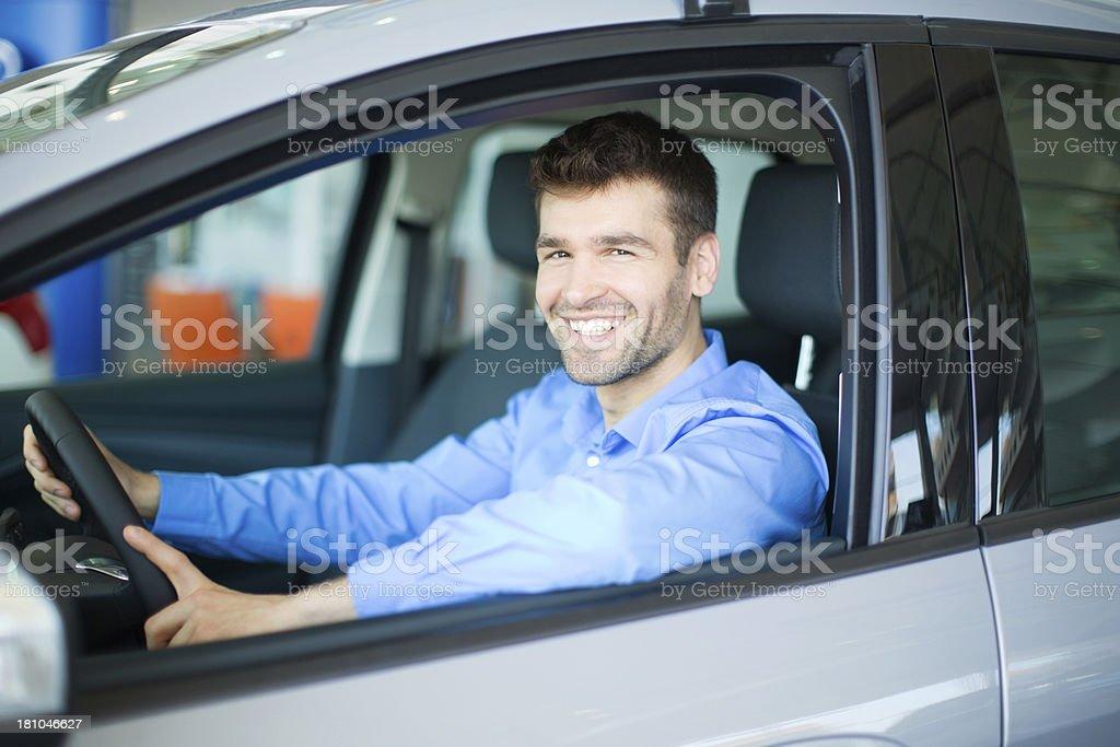 Men bying car. royalty-free stock photo