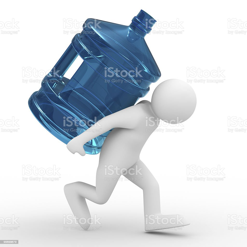 men carry bottle on back. Isolated 3D image royalty-free stock photo