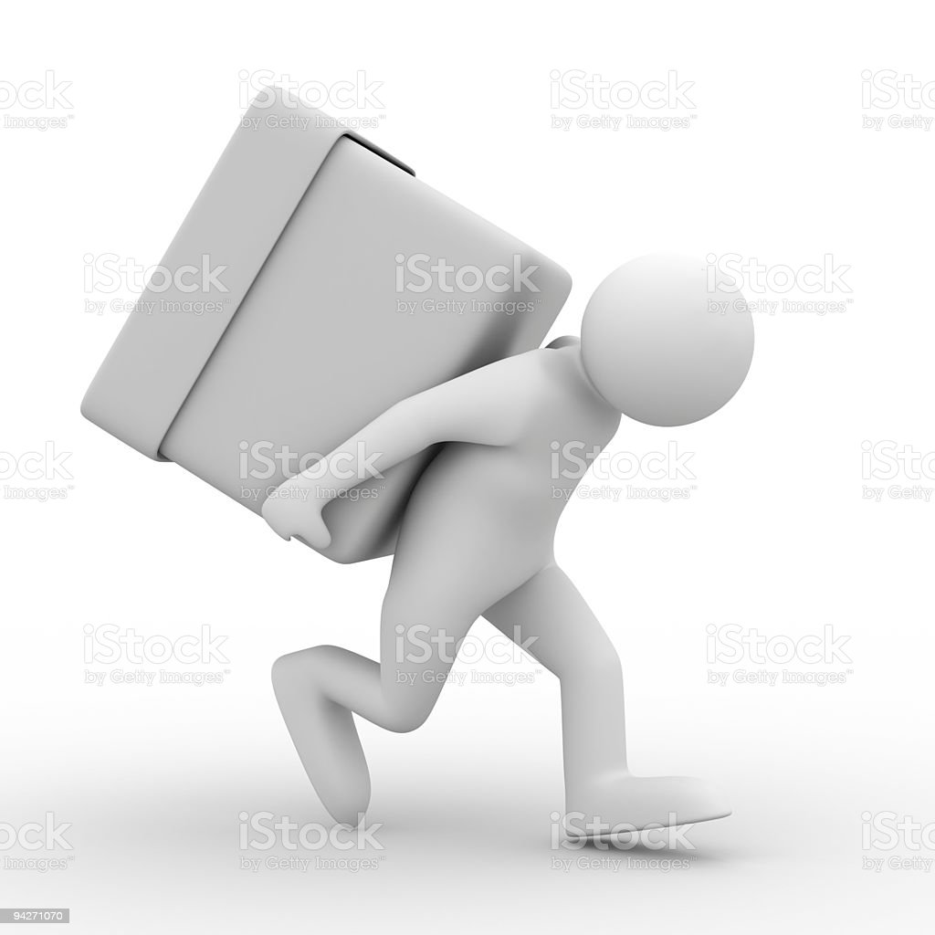 men carry box on back. Isolated 3D image royalty-free stock photo