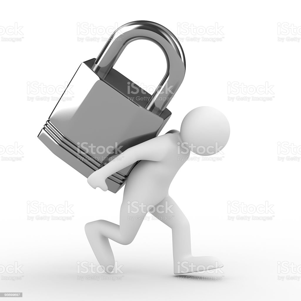 men carry lock on back. Isolated 3D image royalty-free stock photo
