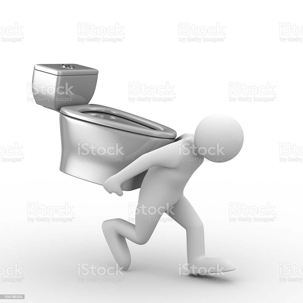 men carry toilet bowl on back. Isolated 3D image royalty-free stock photo
