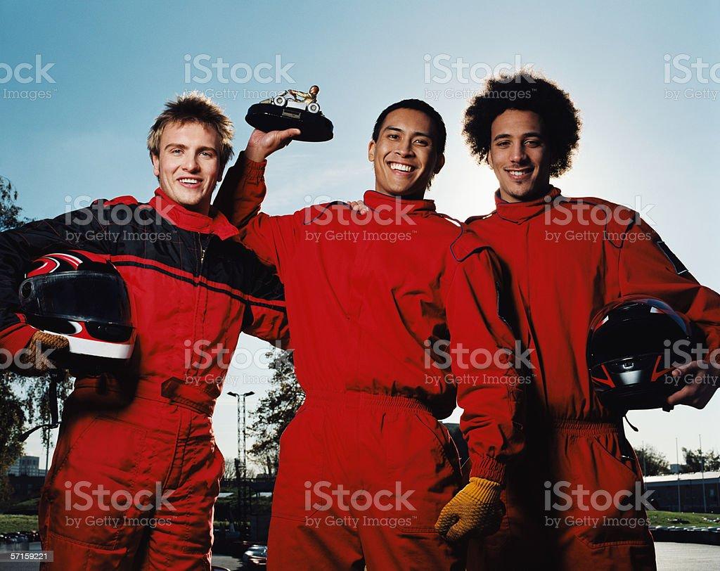 Men celebrating at race track royalty-free stock photo