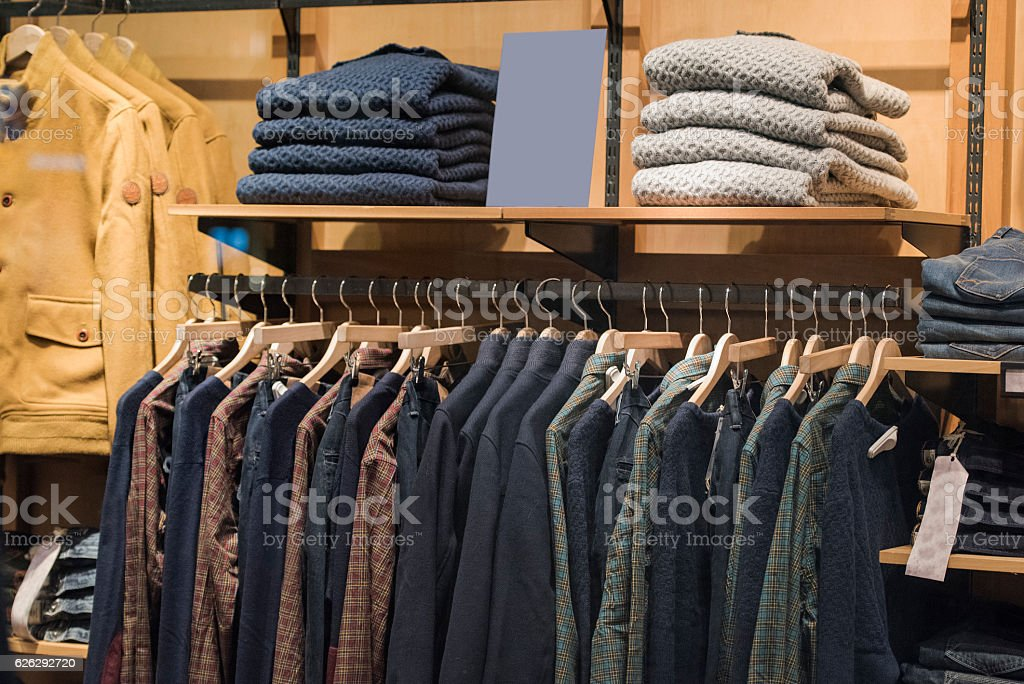 Men clothing from fall winter collection in Milan stock photo