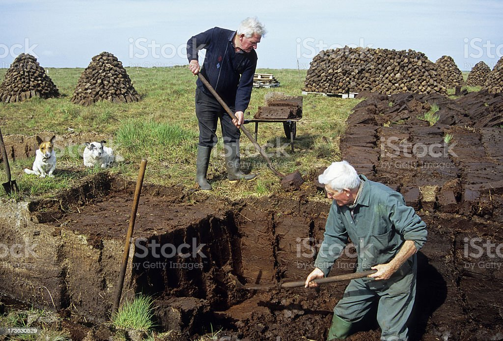 Men cutting turf from bog in Irish Republic stock photo