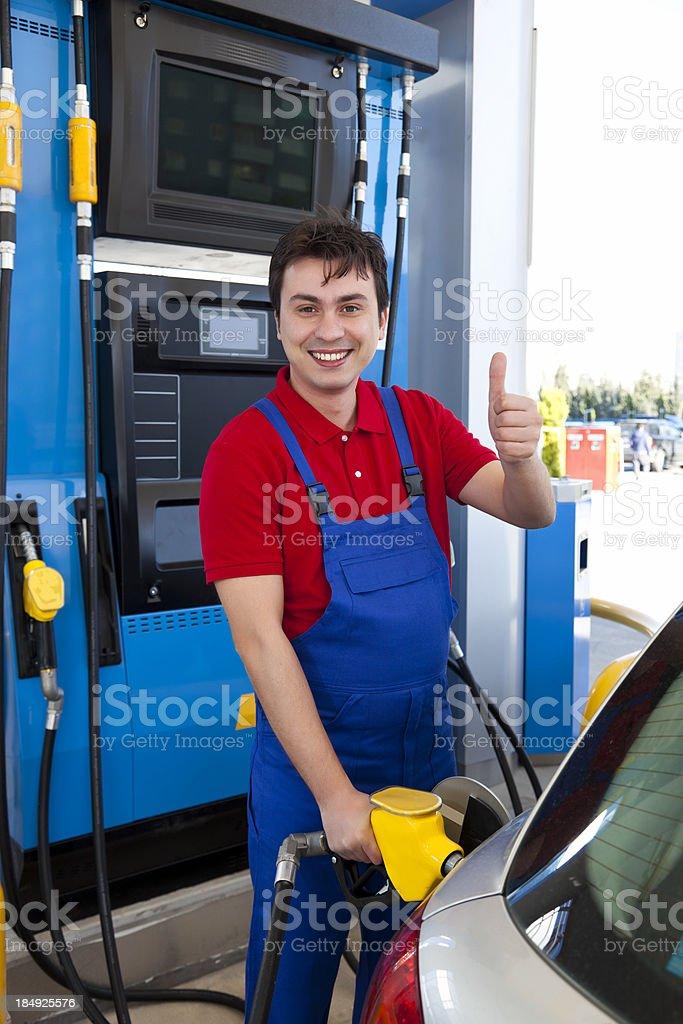 Men filling thumbs up stock photo